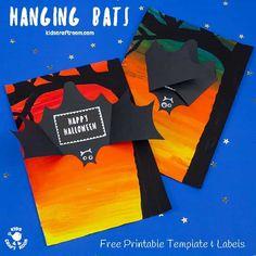 Halloween Crafts For Kids, Halloween Cards, Halloween Treats, Fall Halloween, Bat Template, Paper Bat, Whale Crafts, Hanging Bat, Bat Craft