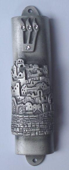 Pewter Mezuzah - City of Jerusalem