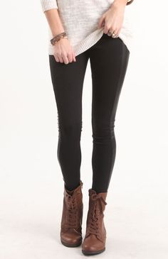 This is a great outfit! Comfy leggings, neutral sweater, awesome boots! Need to get a pair...