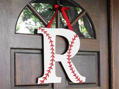 Baseball Monogram Wreath for a Baseball Party Baseball Wreaths, Baseball Crafts, Baseball Mom, Baseball Season, Baseball Tickets, Baseball Tips, Sports Wreaths, Baseball Uniforms, Baseball Stuff