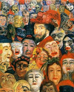 """26 Likes, 1 Comments - @delisax on Instagram: """"#JamesEnsor-Self-Portrait with Masks (1899). #painting #paintingofinstagram #oilpainting #portrait…"""""""