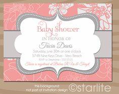 Coral Passion - Coral and Gray Grey - Baby Shower Invitation - PRINTABLE Invitation Design. $15.00, via Etsy.