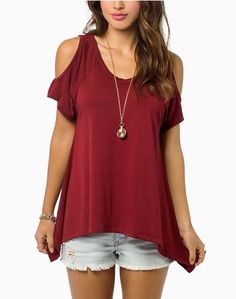 """This top has a round neck with cold shoulder sleeves and an asymmetrical fishtail hemline. Size Bust Sleeve Length Length S 35.43"""" 9.64"""" 22.83"""" M 37.0"""" 9.84"""" 23.22"""" L 38.58"""" 10.23"""" 23.62"""" XL 40.15"""" 10"""