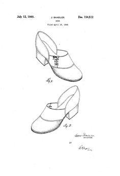 1949 DESIGN FOR A SHOE  Jacob Sandier