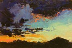 """Midwinter Evening Light"", oil, 4 x 6"", © Mary Bentz Gilkerson"