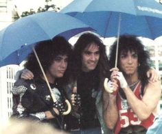 Gene Simmons (KISS), Steve Harris (Iron Maiden) & Paul Stanley. I believe this maybe in a German metal Festival around 1987/88 Crazy Nights Tour.