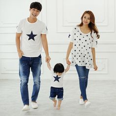 2016 summer star pattern family look matching clothes mother daughter father and son outfits mae e filha mommy and me clothes SmsAliexpress | www.sms.hr #smsaliexpress