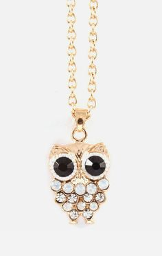 Owly Necklace in Aspen Blue Crystal