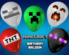 PRINTABLE Balloon Stick-ons DIGITAL File - Inspired by Minecraft - Birthday Party Decor