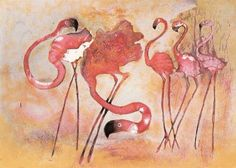Artist: Edwin Salomon --- I have one of these on my wall Flamingo Art, Pink Flamingos, Pink Bird, Animal Humor, Figure It Out, Palms, Great Artists, Penguins, Fairies