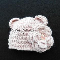 Bonnet bebe  au crochet  vieux rose ideal seances photos
