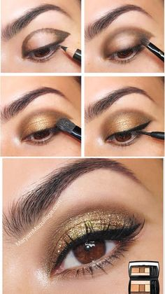 Makeup Ideas Ojos Dia 38 Ideas Make-up Ideen Augen Tag 38 Ideen Eye Makeup Steps, Eyebrow Makeup, Face Makeup, Makeup Goals, Makeup Inspo, Makeup Inspiration, Makeup Ideas, Golden Eye Makeup, Makeup For Brown Eyes