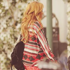sweater, bag and perfect hair