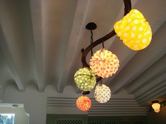 polka-dot lamps inside the ablitt house in santa barbara