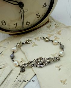 Vintage Art Deco Rhinestone Watch Pearl and by simplymeart on Etsy, $70.00