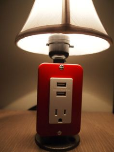 Mini Red Vintage table or desk lamp with USB charging station