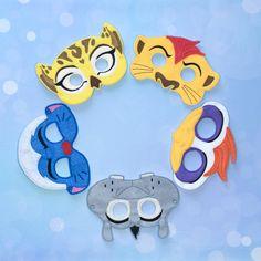 Jungle Leaders Felt Masks  Lion  Hippo  Egret by ANewHopeCrafts