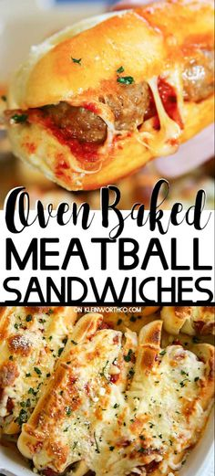 These Oven-Baked Meatball Sandwiches are so incredibly easy to make. Loaded - These Oven-Baked Meatball Sandwiches are so incredibly easy to make. Loaded with melted cheese & marinara making these perfect for your game day crowd. Baked Meatball Subs, Meatball Sub Sandwiches, Hoagie Sandwiches, Oven Baked Meatballs, Meatball Bake, Meatball Sub Recipe Oven, Meatball Marinara Sub, Meatball Sandwich Casserole, Picnic Sandwiches