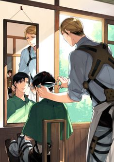 Shingeki no Kyojin - Levi and Erwin. Lol I love how Eren is peeking through the door