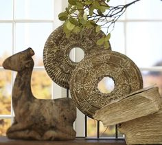 Wooden Medallion On a Stand #potterybarn