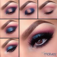 """1.Starting by applying """"Pretty in Pink"""" Blush, slightly above the crease! This is going to act as our transition color  2.Apply both """"Twilight"""" & """"Mykonos Blue"""" to both the inner and outer corners  3.Apply """"Ecstasy"""" in the crease to meet the Transition color! Apply """"Onyx"""" shadow slightly below the purple for some depth  4.For a Pop of even more color apply """"Lust Dust"""" shadow in th..."""