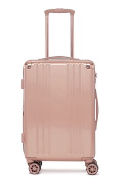 Ambeur Rolling Spinner Carry-On, Main, color, Rose Gold Best Carry On Luggage, Carry On Suitcase, Luggage Sets, Pink Luggage, Calpak Luggage, Travel Luggage, Rose Gold Accessories, Travel Accessories, Rose Gold Suitcase