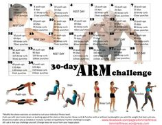30 Day Arm Challenge: Push-Ups, Tricep Dips, Bicep Curls and Punches