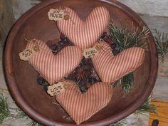 4 Primitive Rustic Christmas Hearts Red Striped Ornaments Ornies Bowl Fillers #Primitive #ChooseMoosePrimitiveDesigns