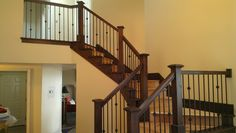 Draper Utah alder stair railing with metal balusters.
