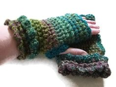 Crochet Fingerless Mitts, Gloves - Greens. Accessories. Wristwarmers, Armwarmers £10.00