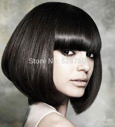 新しい到着の女性の短いストレートヘアかつら色黒ボブかつらファッションかつら送料無料