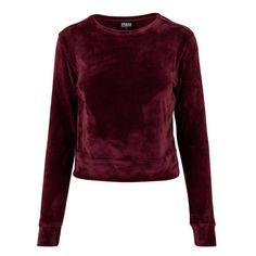 Fluwelen crew korte dames trui burgundy rood