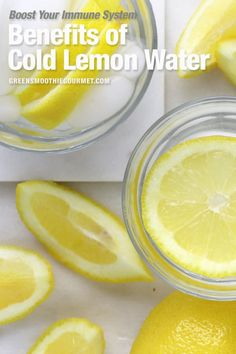 The benefits of lemon water is that it boosts immunity, brain cells, flushes toxins, assists weight loss, protects skin. Learn about both warm verses cold. High Protein Snacks, Healthy Protein, Warm Lemon Water Benefits, Cucumber Lemon Water Benefits, Drinking Lemon Water, Infused Water Recipes, Lemon Drink, Lemon Recipes, Free Recipes