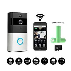 Smart Wireless WiFi Video Doorbell,HD 720P Camera Battery Powered Home Security Camera, Built-in 8G Card PIR Motion Detetion Tamper Alar Infrared Night Vision Two-Way Audio Two 18650 6800mAH.