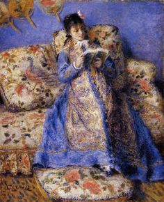 "Painting by Auguste Renoir, 1872, ""Camille Monet Reading,"". Camille was the wife of Claude Monet and her muse since  Camille Doncieux Monet (1847-1879) Camille was so cooperative that she freely posed for Monet's painter friends, too."