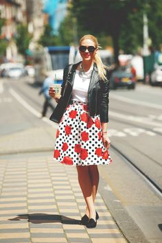 Black #leather jacket, polka dots floral #skirt, black shoes. Street spring #women fashion outfit clothing style apparel @roressclothes closet ideas