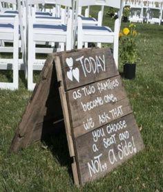 Handmade Sandwich board sign for wedding