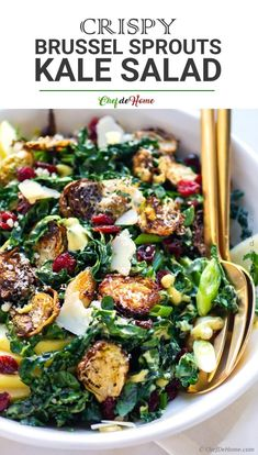Salad Recipes 215891375874863721 - Kale and Brussel Sprout Salad Delicious Kale Salad with apple, cranberries, crispy parmesan roasted Burssel Sprouts with creamy honey-mustard dressing. Source by chefdehome Best Salad Recipes, Healthy Recipes, Healthy Brussel Sprout Recipes, Best Brussel Sprout Recipe, Brussels Salad Recipe, Delicious Salad Recipes, Best Kale Salad Recipe, Keto Recipes, Lettuce Salad Recipes