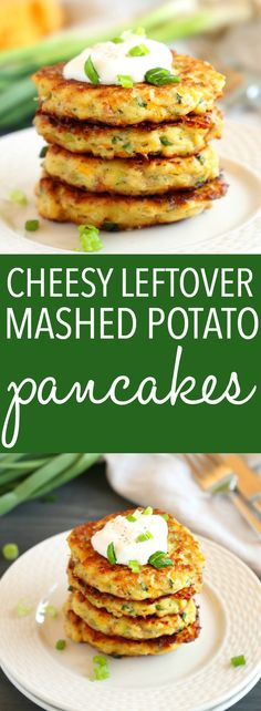 These Cheesy Leftover Mashed Potato Pancakes are the perfect easy meal or snack made with leftover mashed potatoes, cheese, ham, and all the fixings you love! Recipe from ! Leftover Mashed Potato Pancakes, Cheesy Mashed Potatoes, Leftover Mashed Potatoes, Mashed Potato Recipes, Potato Dishes, Mashed Potato Fritters Recipe, Mashed Potato Patties, Mashed Potato Cakes, Baked Potatoes