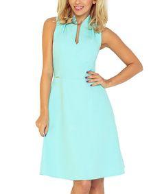 Look what I found on #zulily! Mint Notch Neck A-Line Dress #zulilyfinds