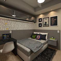Projeto de interiores para quarto do adolescente. Decor em tons de cinza, preto e branco. Projeto Guapo Arquitetura e Interiores. Ver esta foto do Instagram de @raisamak