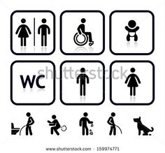 Toilet icons, vector illustrations, silhouettes isolated on white background