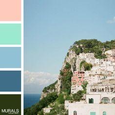 The perfect summer palette! - Villa Behring on Capri mural