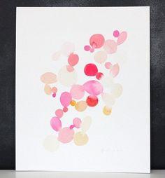 Yao Cheng Watercolors | Dots watercolor art | pink polka dots watercolor