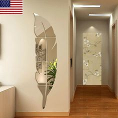 DIY Removable Feather Mirror Wall Stickers Art Vinyl Decal Room Home Decor Rooms Home Decor, Home Decor Furniture, Diy Home Decor, Room Decor, 3d Wall Decor, Wall Stickers Home Decor, Mirror Wall Decorations, Ceiling Design, Wall Design