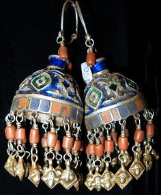 Enamel & red coral earrings, Uzbek