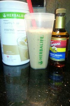 My favorite Herbalife Formula 1 shake, Cafe Latte w/ splash of Carmel syrup. Better than Starbucks! Get yours today