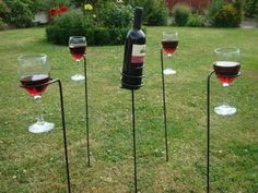 Use these beautiful wine bottle and glass holders for the garden, or park. These Glass holders have been beautifully designed and will prevent any spilled wine. Is ideal for any outdoor entertaining in the garden, at picnics, barbecues, at the beach, open air concerts & festivals, to any outdoor event. A perfect height for use in the spa or hot tub too! #ebay #Garden #Ideas #Outdoor #Modern #Idea #Wine #Bottle #Holder #Party #Holders #Stake #Drinks #Set #Stand