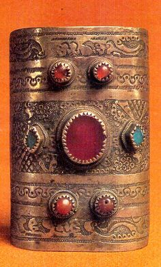 Chuvash cuff with inlaid gem stones 19th c