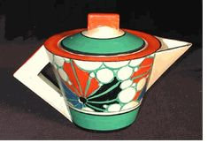Clarice Cliff Teapot in the Conical shape & Broth pattern Lge size #24 signed 'Fantastque' by Clarice Cliff